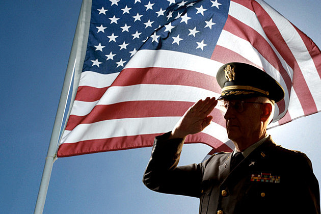 American Flag with Saluting Soldier