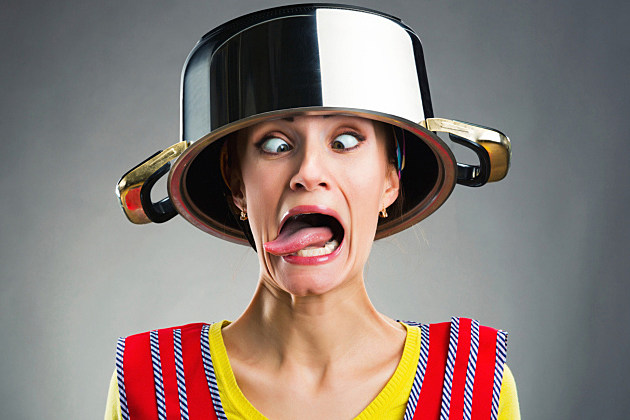crazy lady with pot on her head