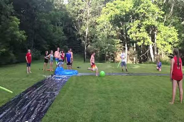 how to make a slip and slide kickball game