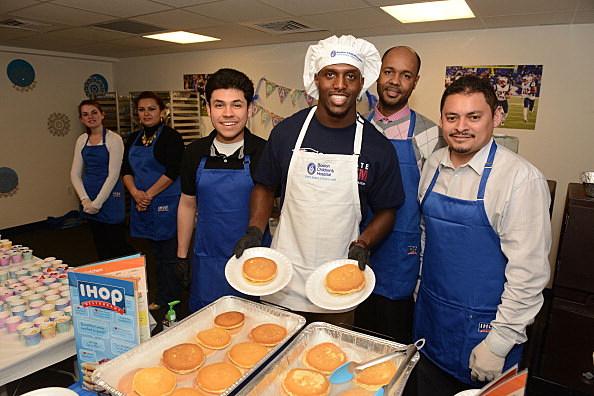 New England Patriots Kick Off IHOP Pancake Day At Boston Children's Hospital