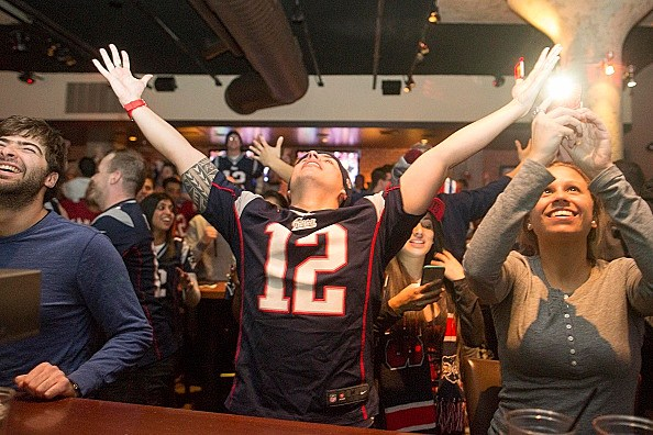 Patriots Fans Gather To Watch Super Bowl XLIX, New England Vs. Seattle
